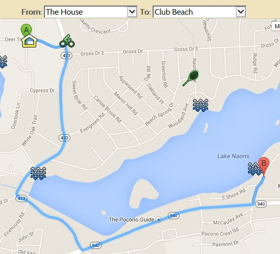 Directions From your Lake Naomi summer vacation rental to Lake Naomi Clubhouse