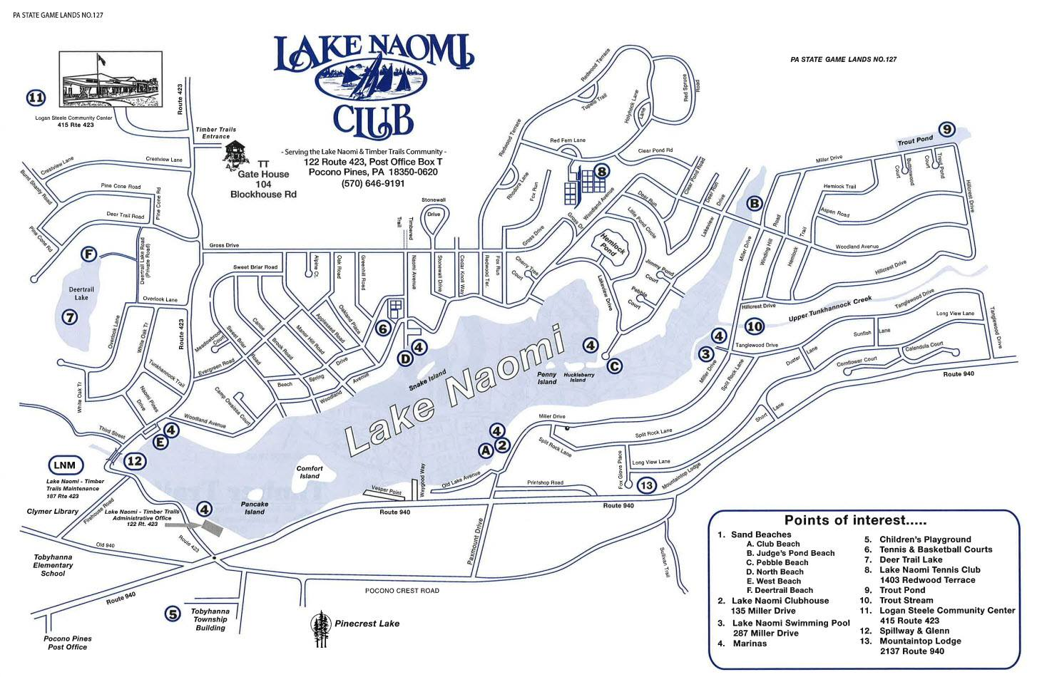 Lake Naomi Map - A map of Lake Naomi with the amenity locations listed