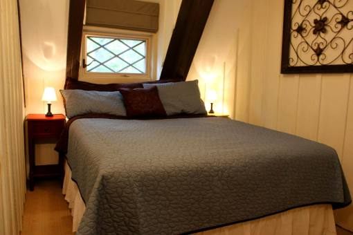 Feels Like Heaven - 5 Bedroom Poconos Vacation Rental House - The Squirrel Room - Features a Queen Sized Memory Foam Mattress, a 32 inch LED TV and ceiling Fan