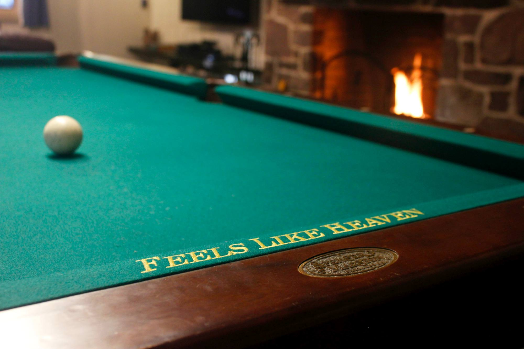 A Poconos Rental With A Great Deck, Hot Tub And Game Room - A Close Up Of The Pool Table In The Great Room